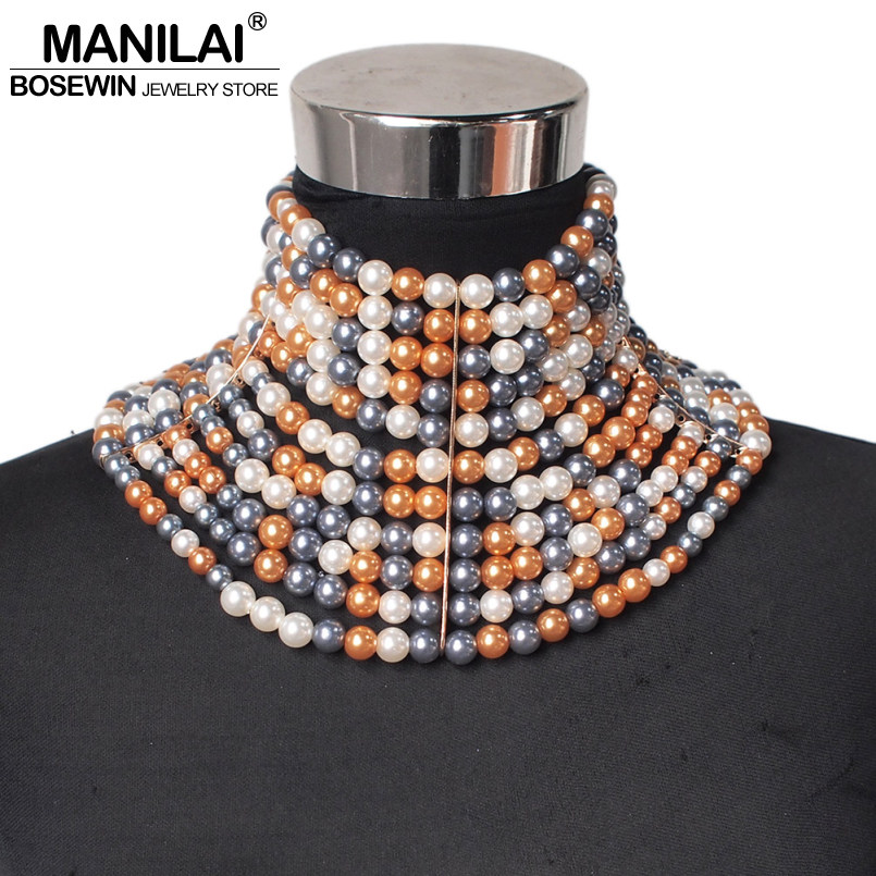 Image 4 - MANILAI Brand Imitation Pearl Statement Necklaces For Women Collar Beads Choker Necklace Wedding Dress Beaded Jewelry 2019Choker Necklaces   -