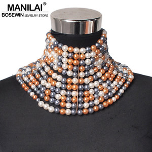Image 4 - MANILAI Brand Imitation Pearl Statement Necklaces For Women Collar Beads Choker Necklace Wedding Dress Beaded Jewelry 2020