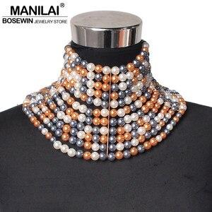 Image 4 - MANILAI collier de marque pour femmes, Imitation de perles, collier ras du cou, pour robe de mariée, bijou, 2020