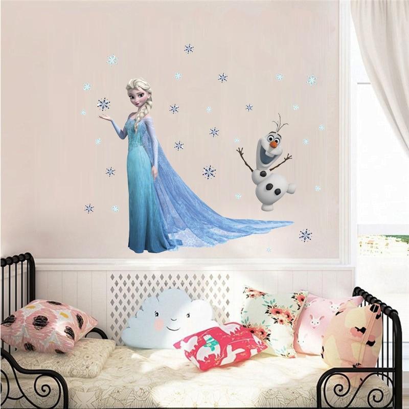Милые Олаф, Эльза, королева, снежинки, замороженные наклейки на стену для детской комнаты, украшения, Мультяшные наклейки для дома, фотообои