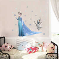 Lovely Olaf Elsa Queen Snowflakes Frozen Wall Stickers For Kids Room Decoration Cartoon Home Decals Anime Mural Art Movie Poster