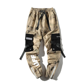 Male Ribbons Cotton Cargo Pant Trousers Elastic Waist Harem Pant Male Hip Hip Streetwear Men's Camouflage Joggers Casual Pants