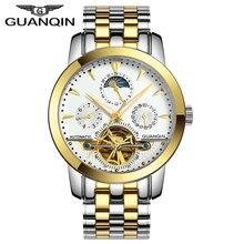 Оригинал GUANQIN Автоматические Механические Tourbillon Часы Мужчины Кожаный Ремешок Сапфир Self-ветер Мужчины Скелет Наручные Часы Золотые Часы