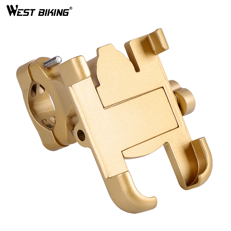 WEST BIKING Bicycle Phone Holder Bike Mount Mobile Handlebar Support Navigation Cycling Aluminium Alloy Phone Mount Bracket