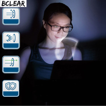 BCLEAR 1.67 refractive index  anti blue ray lenses single vision lens Myopia blue light eyes protection glasses high index thin