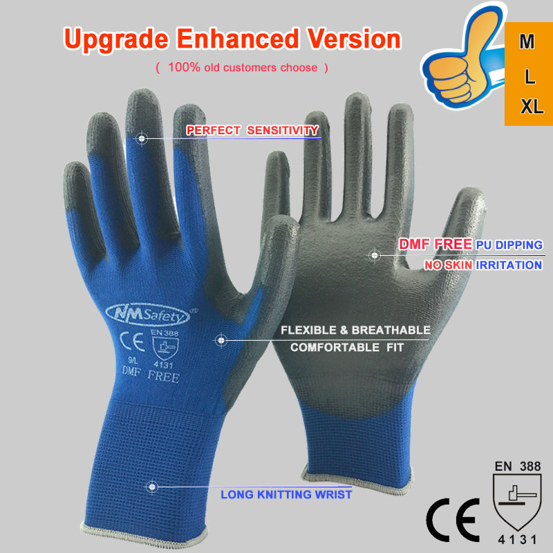 NMSafety 12 Pairs work gloves for PU palm coating safety glove