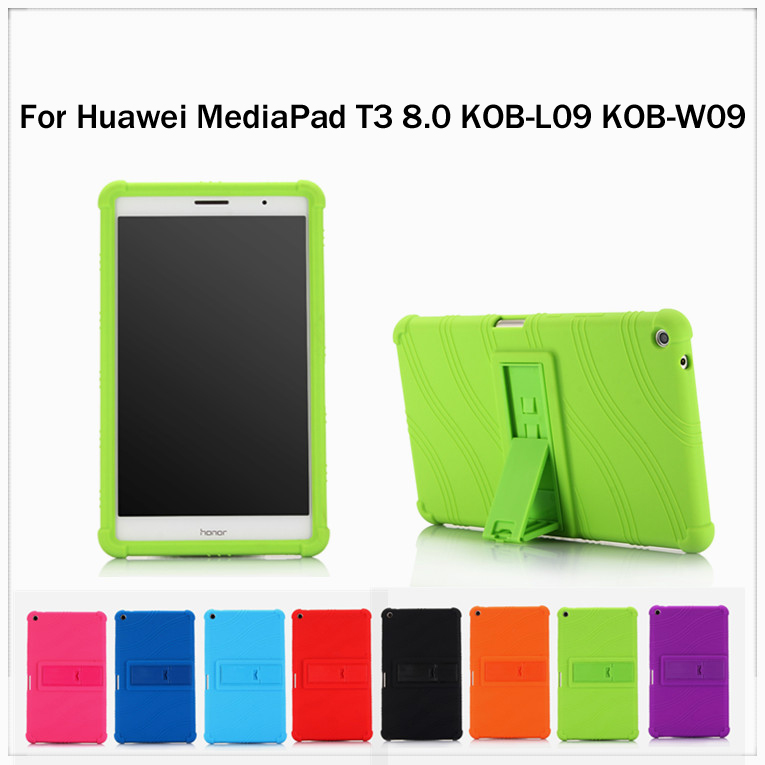 Silicone Tablet stand Cover Case For Huawei MediaPad T3 8.0 KOB-L09 KOB-W09 8.0 inch Tablet Case + Stylus for huawei mediapad t3 7 0 wifi case soft silicone case cover for huawei mediapad t3 7 0 bg2 w09 7 inch tablet pc gifts
