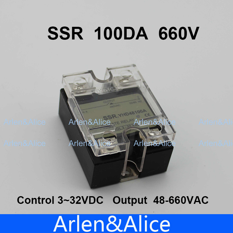 100DA SSR Control 3-32V DC output 48~660VAC High voltage single phase AC solid state relay dc ac single phase ssr solid state relay 120a 3 32v dc 24 480v ac