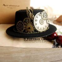 Steampunk Gear Clock Chain Wing Mini Top Hat Lolita Cosplay Costome Dress Hair Accessories