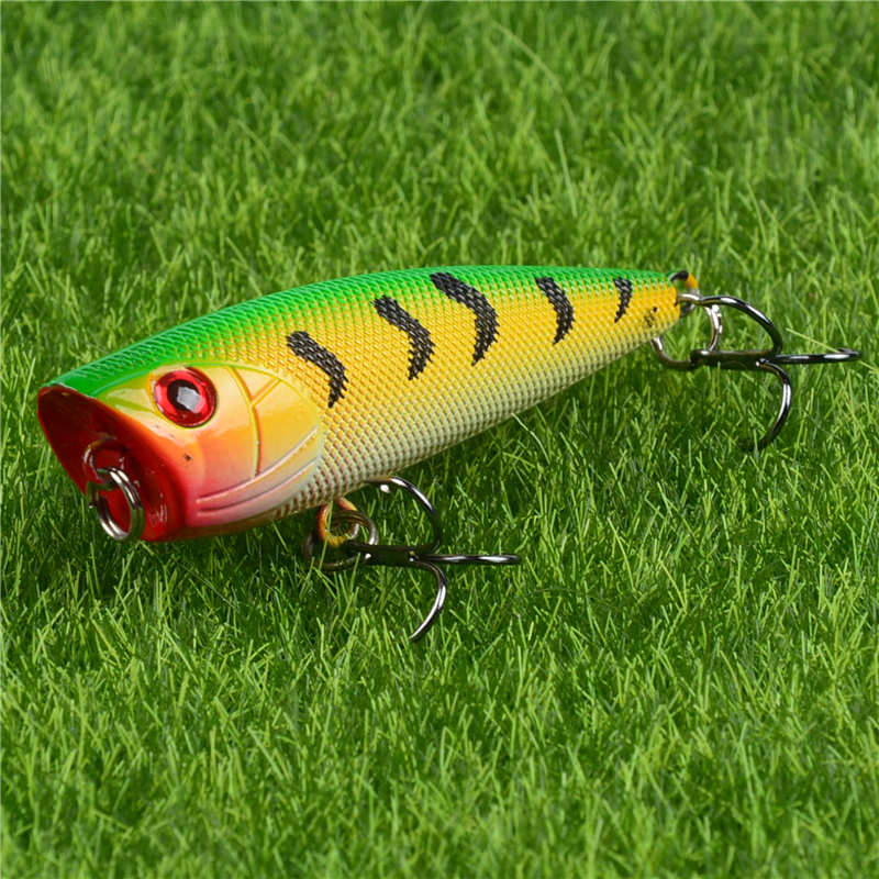 8CM//9G Hard Plastic Topwater Pencil Fishing Lures Crankbaits Hooks Tackle Bass