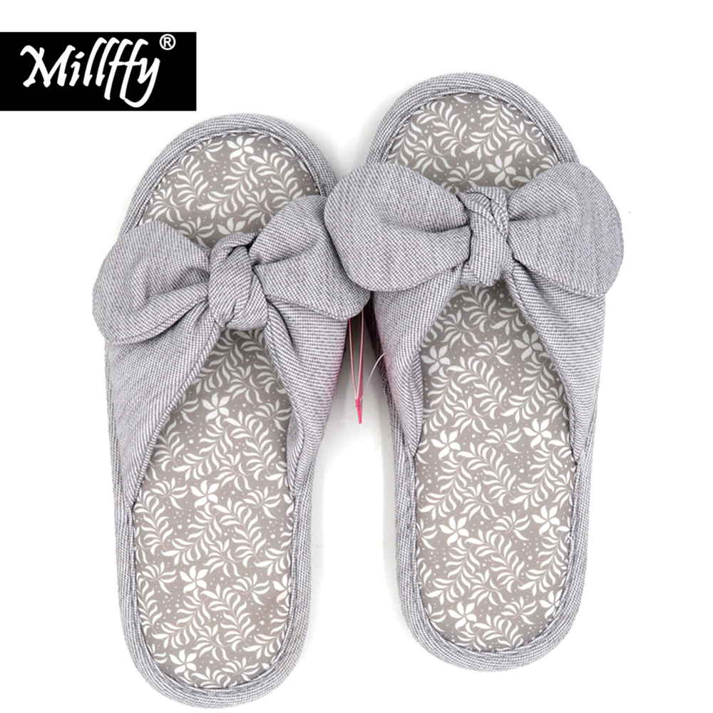 Millffy spring summer japanese household slippers female bowknot breathable cotton antiskid lady indoor slippers maybelline палетка теней the nudes 01