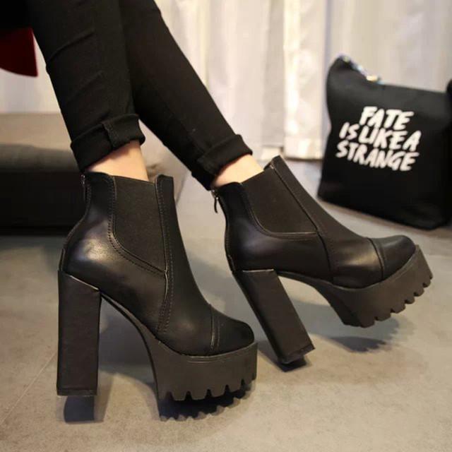 Nova outono e inverno ankle boots botas Curtas grossas com sapatos de salto Alto plataforma À Prova D' Água sapatos de couro botas de couro das Mulheres