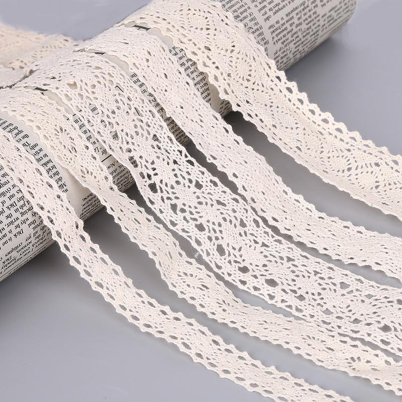5m De Estilo Vintage 2cm Algodón Crochet Encaje ajuste del borde Lazo Blanco Boda De Coser