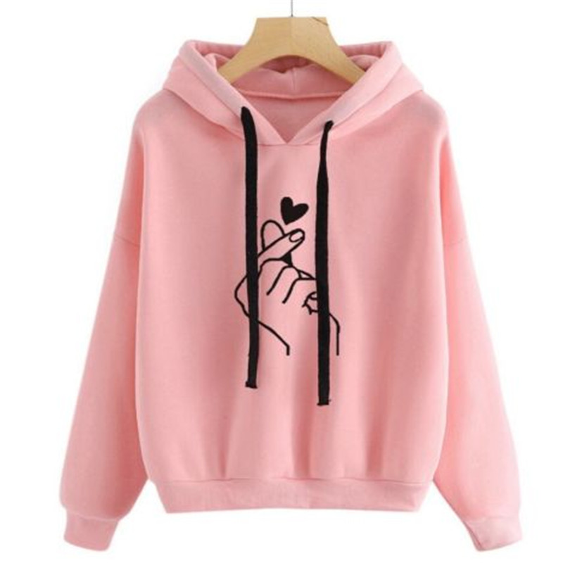 Harajuku Unisex Hoodies Sweatshirt Pullover Tops Autumn Winter Women Men Unisex Heart Printed Hooded Casual Long-sleeved Coat