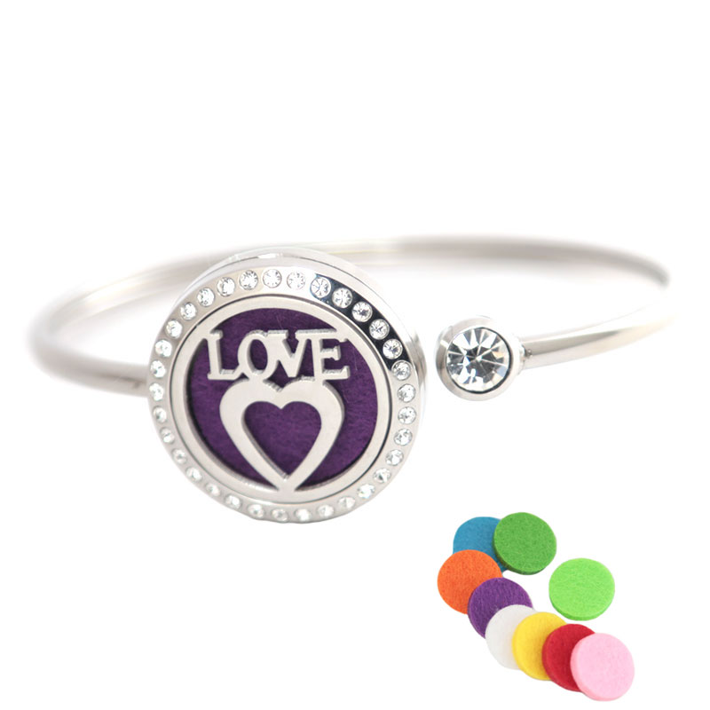 Cute Love 25mm Magnet Crystal Stainless steel Aromatherapy locket Bracelet Bangle essential oil diffuser locket bracelet 30mm yl logo magnet 316 stainless steel car aromatherapy locket free pads essential oil car perfume lockets drop shipping