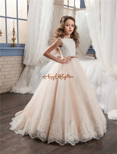 2018 Vintage Flower Dresses For Weddings Blush Pink Custom Made Princess Liqued Lace Bow Kids