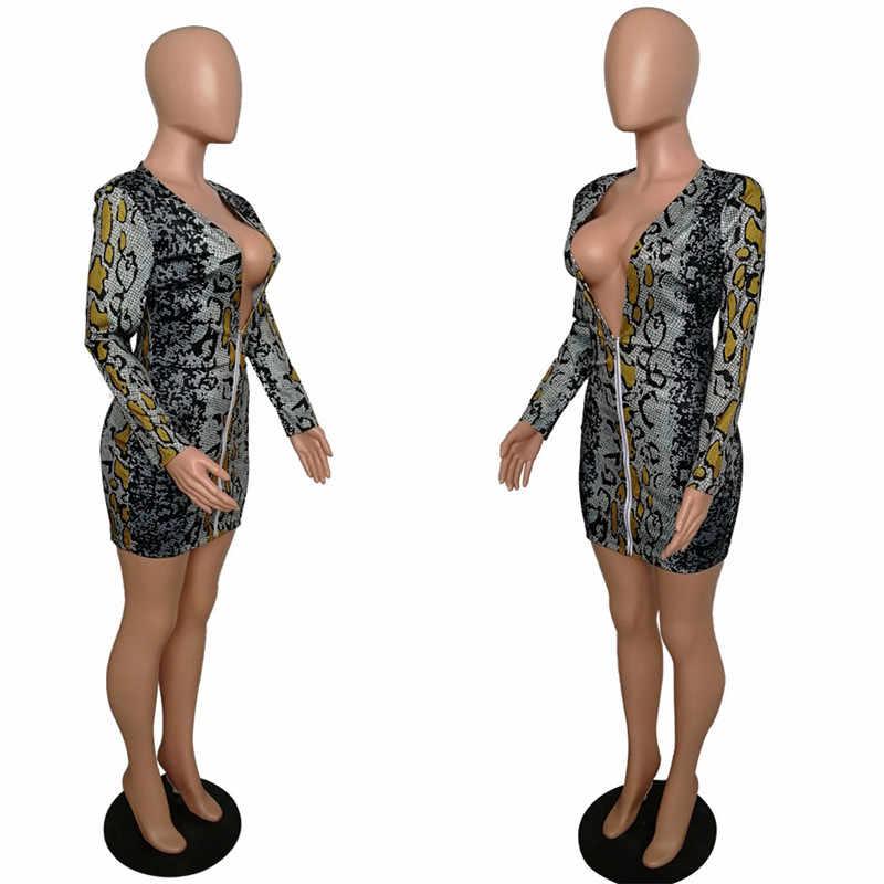 Женское облегающее платье с принтом змеи, облегающее мини-платье с глубоким треугольным вырезом и длинным рукавом