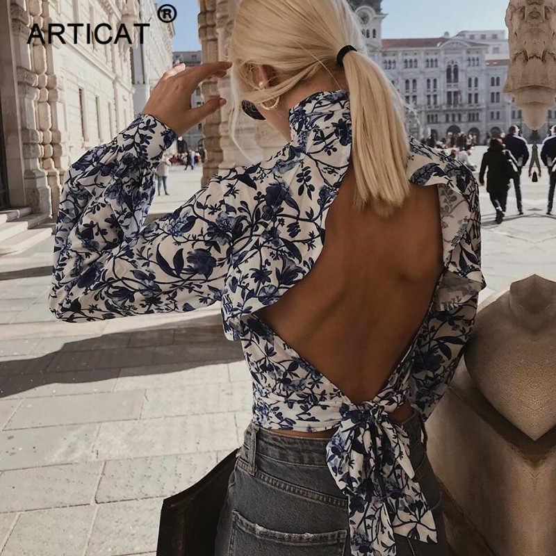 Женская укороченная блуза со шнуровкой Articat, блузка-хомут с цветочным принтом, открытой спиной и рукавом фонариком на лето