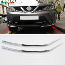 For Nissan Qashqai 2014 2015 2016 ABS Chrome Front Bumper Foglight Eyelid chafing strip Cover Trim Auto Parts Accessories 2pcs