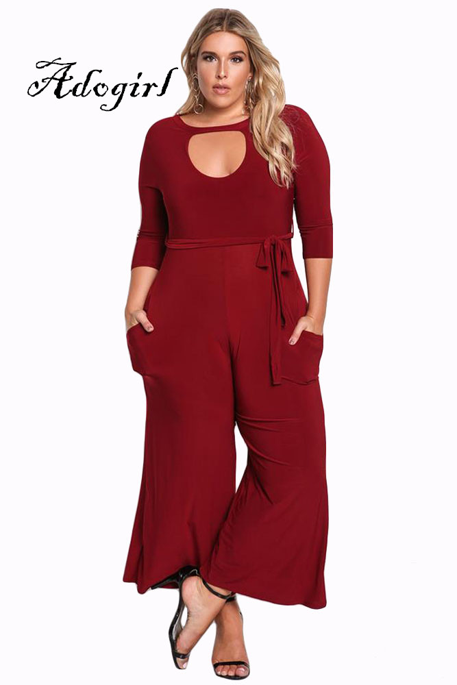 Adogirl 2017 Autumn New Sexy Women Plus Sizes 2XL 3XL Wide Legs Jumpsuits Fashion Sash Pockets Hollow Out Casual Long Rompers