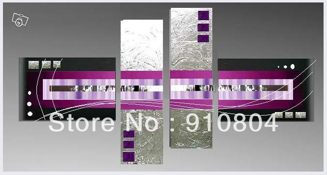 Framed 4 Panels Huge Black White Purple Wall Art Canvas Painting Oil Picture Home Decoration L0490 - 99$ store