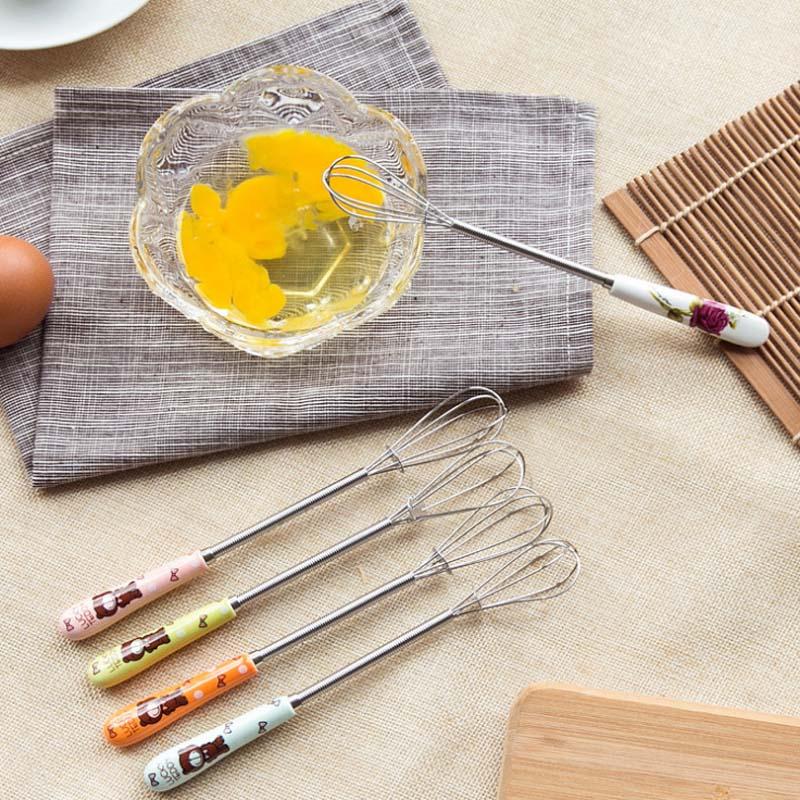 Практичный милый мультфильм керамическая ручка ручной взбивания яиц взбивание сливочного масла из нержавеющей стали кухонные инструменты яйцо Beaters Венчики для яиц      АлиЭкспресс