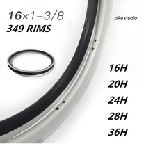 349 Bicycle Rims Bike Folding 16inch 36-Hole Brompton Silver Aluminum-Alloy Black 20-24-28