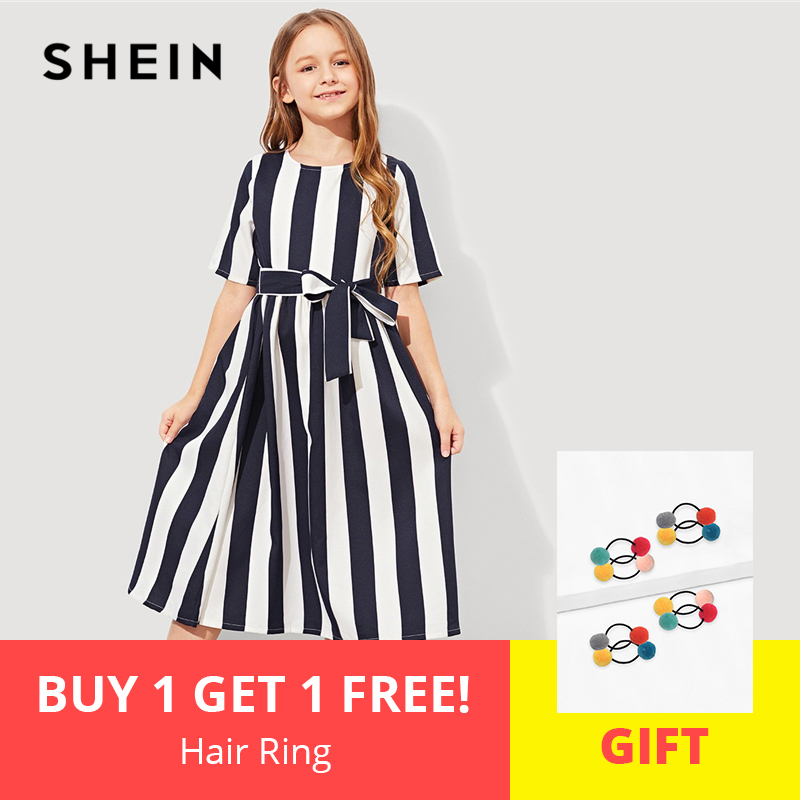 Фото - SHEIN Girls Tie Waist Button Striped Casual Dress Kids Clothing 2019 Spring Korean Short Sleeve Elegant A Line Girls Dresses tie neck floral embroidered longline dress