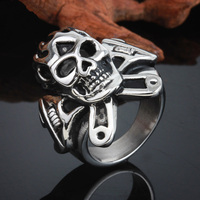 Hot Selling Punk Mens Jewelry Wholesale Retail 316L Stainless Steel Silver Black Skull Biker Ring US