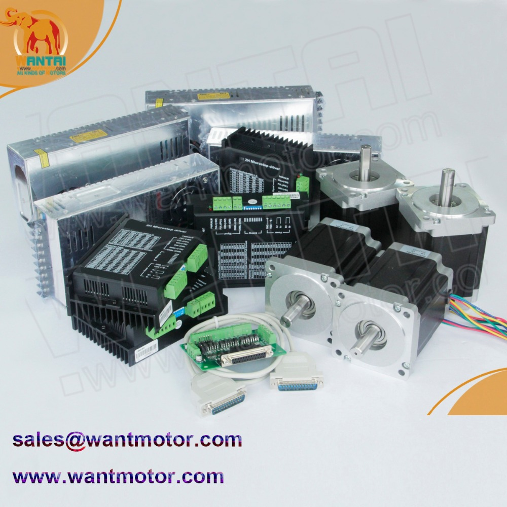 (China cheap Offer)4 Axis Nema 34 Stepper Motor Dual Shafts 1600oz-in, 3.5A CNC Mill & DQ860MA driver 7.8A & power supply