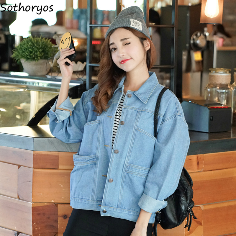 Jackets   Women Autumn Solid Simple All-match Leisure Pockets Turn-down Collar High Quality Coats Womens Korean Style   Basic     Jacket
