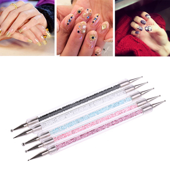5pcs/set Acrylic Dual-ended Nail Art Dotting Pen Crystal Colorful Rhinestone Nail Decoration Painting Brush Tools Nail Art Accessories