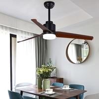 LukLoy Modern American Restaurant Ceiling Fan Lamp Pendant Light Living Room Bedroom European Retro Wood Leaf Fan Light