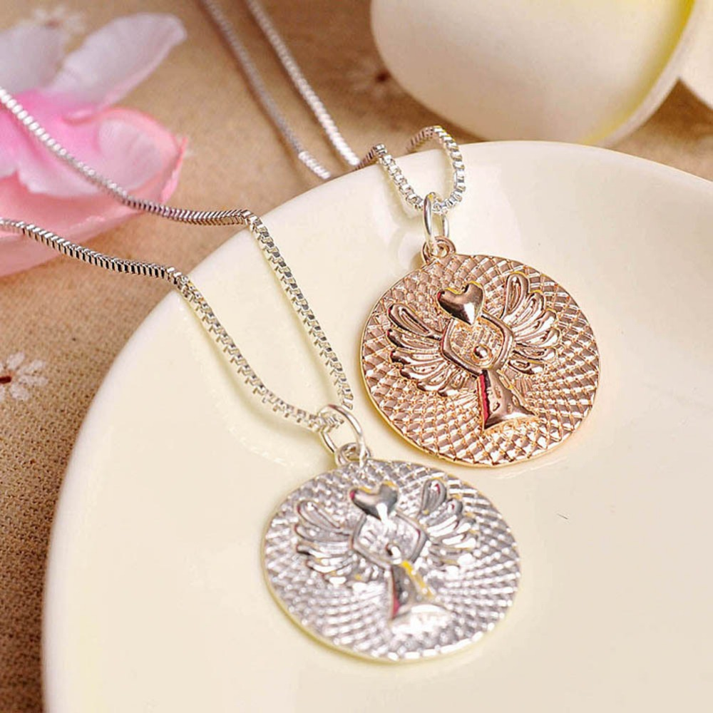 Charming Trendy Jewelry Guardian Angel Necklace Love Letters 2 Colors Gold White Drop Shipping