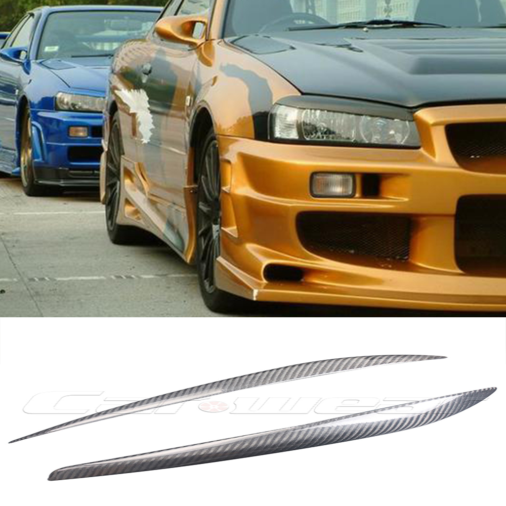 Skyline GTR R34 Carbon Fiber car  Headlight Eyebrows Cover Trim Sticker for Nissan 1999-2002 Free shipping