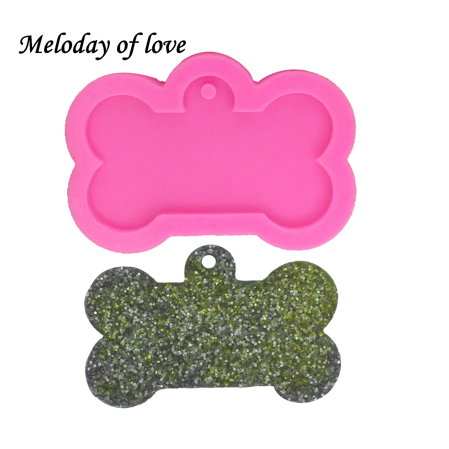 Shiny Dog Bone Shape Key Chain Mold DIY Epoxy Resin Clay Mold Silicone Mold For Keychain Accessories Pendant DY0061