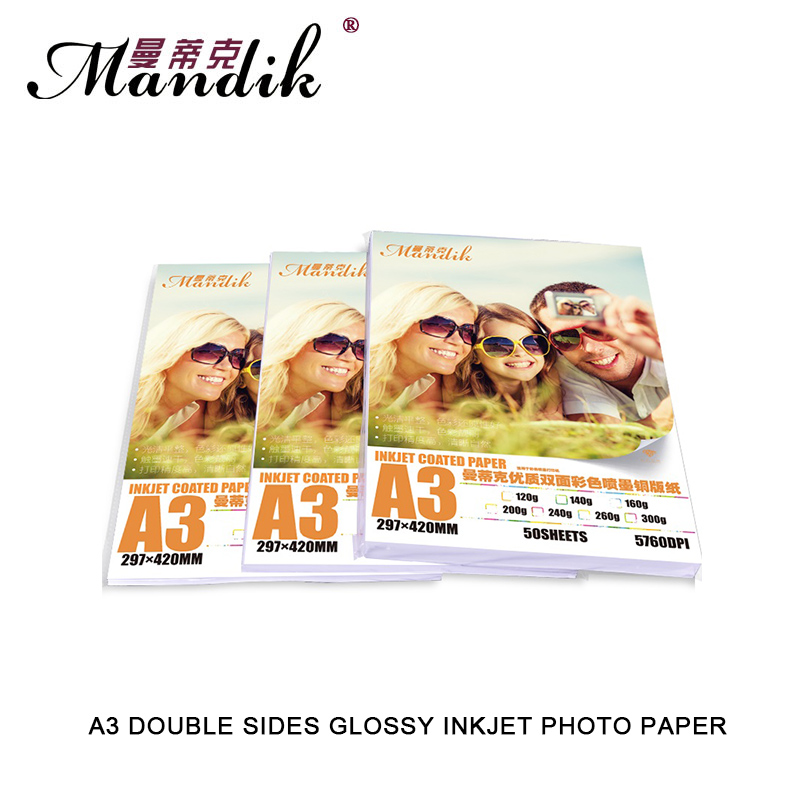 300g Double Sides Glossy Coated Photo Paper A3 For Inkjet Printer