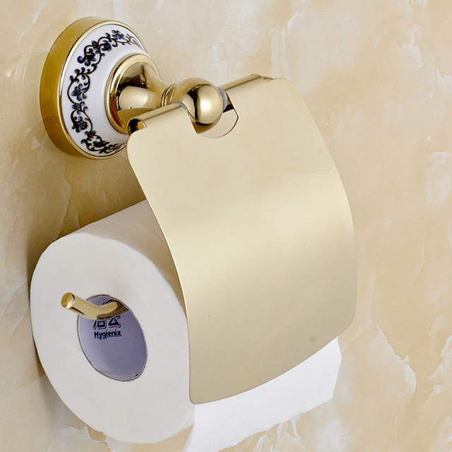 Bathroom Paper Prepossessing Free Shipping Blue And White Porcelain Golden Stainless Stell . Review