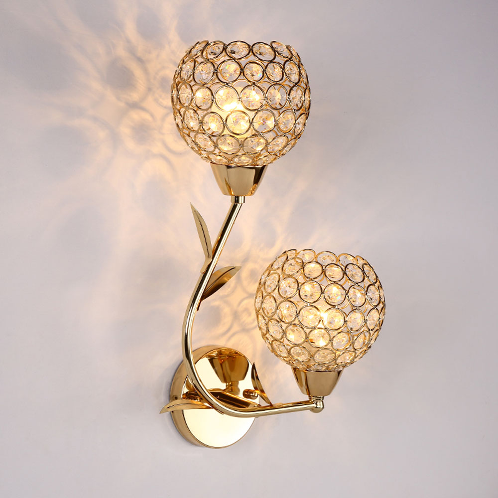 ФОТО E27 LED Wall Lamp 110V-220V Hotel Balcony Crystal Wall Light Double Single Head Without Bulb Outdoor Lighting Wall Lamps