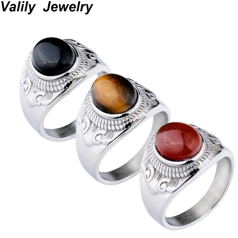 Silver Stone Ring Designs | Mens Unique Design Silver Tiger Eye Stone Simple Ring Size 7 13