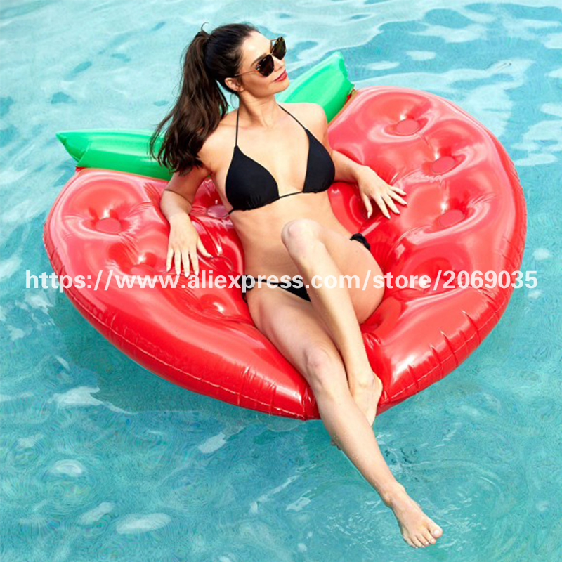 5-Foot 160cm Giant Red Strawberry Pool Floats For Children&Adults 16-Hole Cup Holders Water Air Lounger Beach Party Toys Piscina 1 6m giant crab ride on pool floats summer swimming party children fun water toy kickboard for 2 children