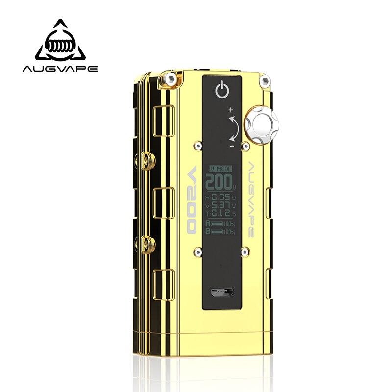 Augvape V200 Boîte Mod Vaporisateur Or Bypass Automatique V Support du mode Double 18650 Batterie de Zinc Alliage cigarette électronique Mod Mod