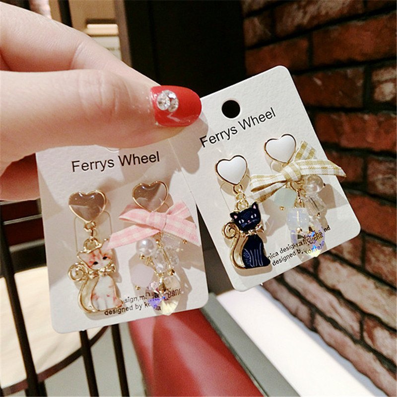 Korea Handmade Anti-allergy Cartoon Cat Heart Women Drop Earrings Dangle Fashion Jewelry Accessories-QQD5