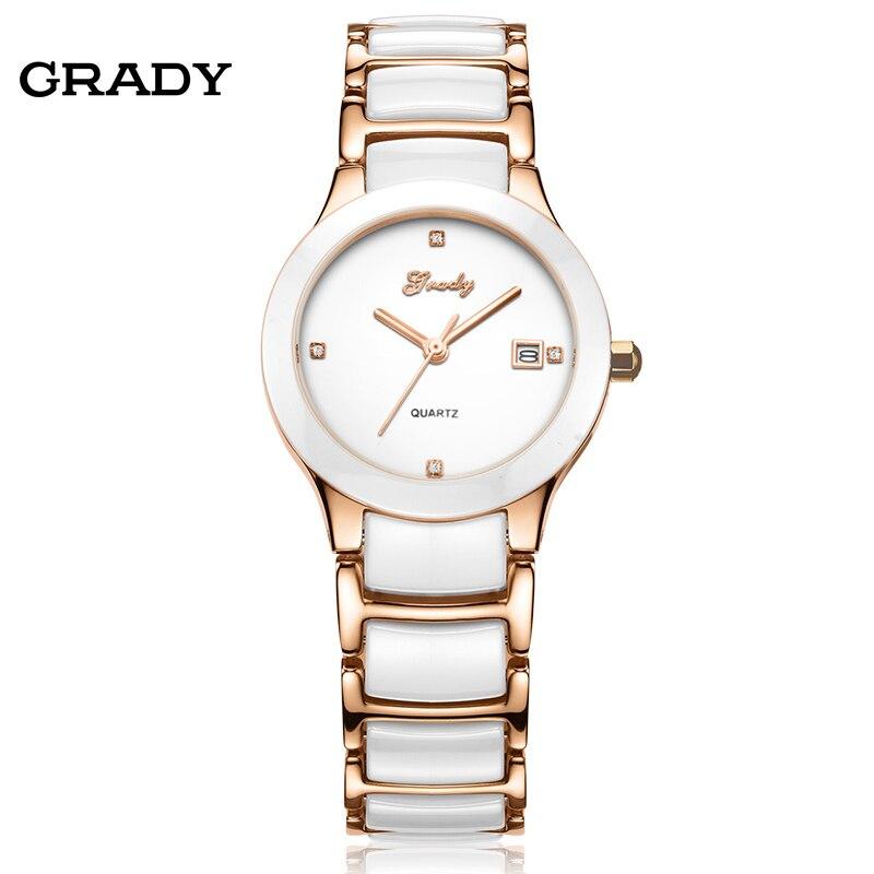 New Brand Watch Women Watches Women Fashion White Ceramic Steel Strap Quartz Watch Wristwatches Free Shipping