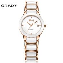 Новый Бренд Часы Женщины Часы Мода Белый Керамический Стальной Ленты Кварцевые Наручные Часы Бесплатная Доставка