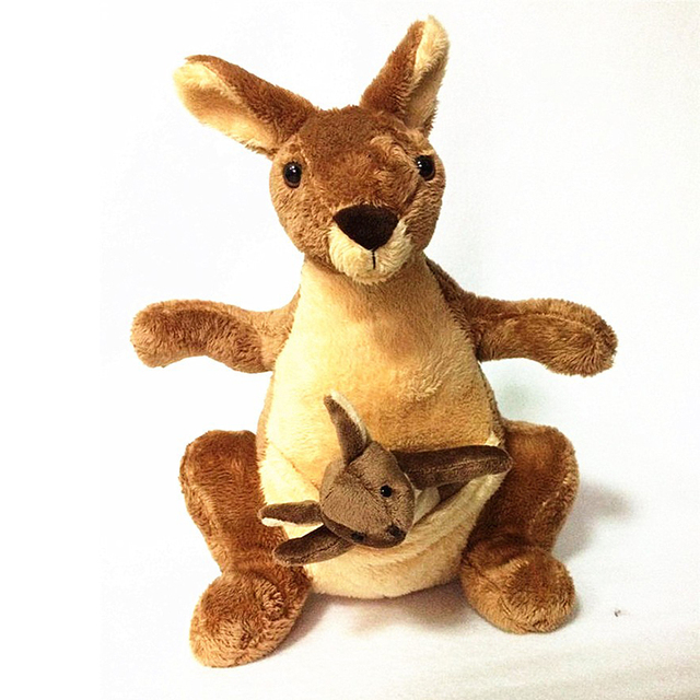 25cm Plush Kangaroo Toys with Soft PP Cotton Creative Stuffed Animal Dolls Cute Kangaroos with Small Baby Toys Gift for Children