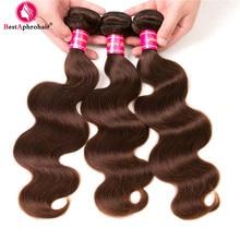Aphro Braziliaanse Body Wave Bundels 8-28 inch Menselijk Haar 3 Bundel Deals Niet Remy Haar Weave Extensions # 4 Lichtbruin Gratis verzending