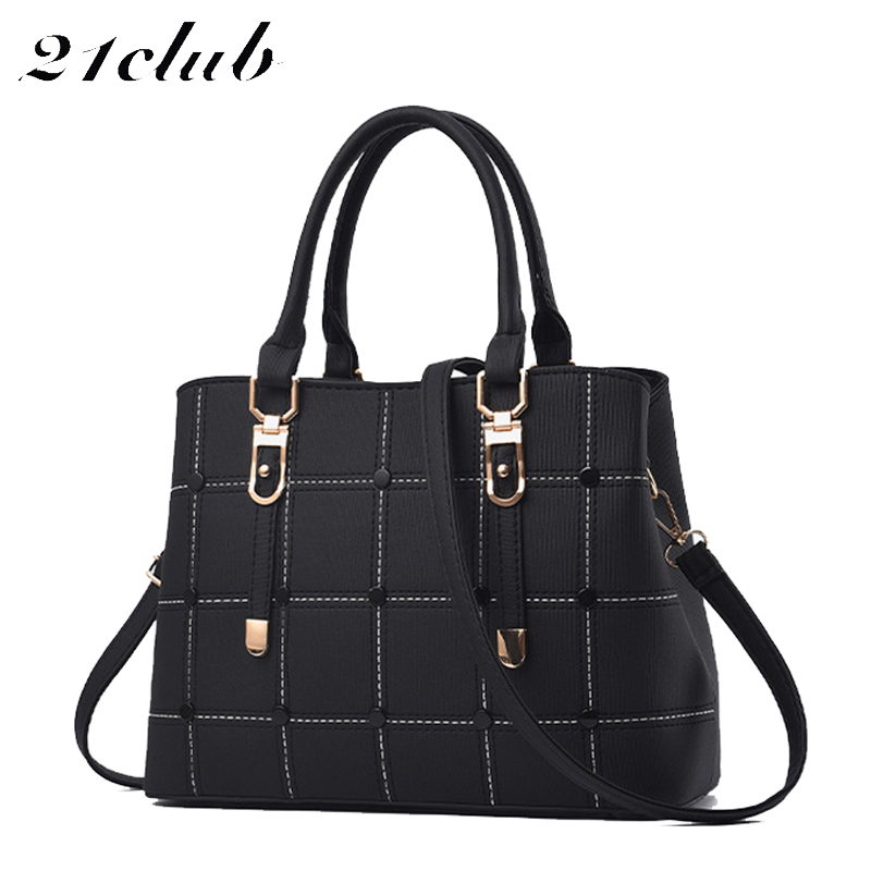 21club Brand Women PU Leather Bag With Large Capacity Crossbody Bag For School And Working Ladies Casual Tote Bag Women Handbags