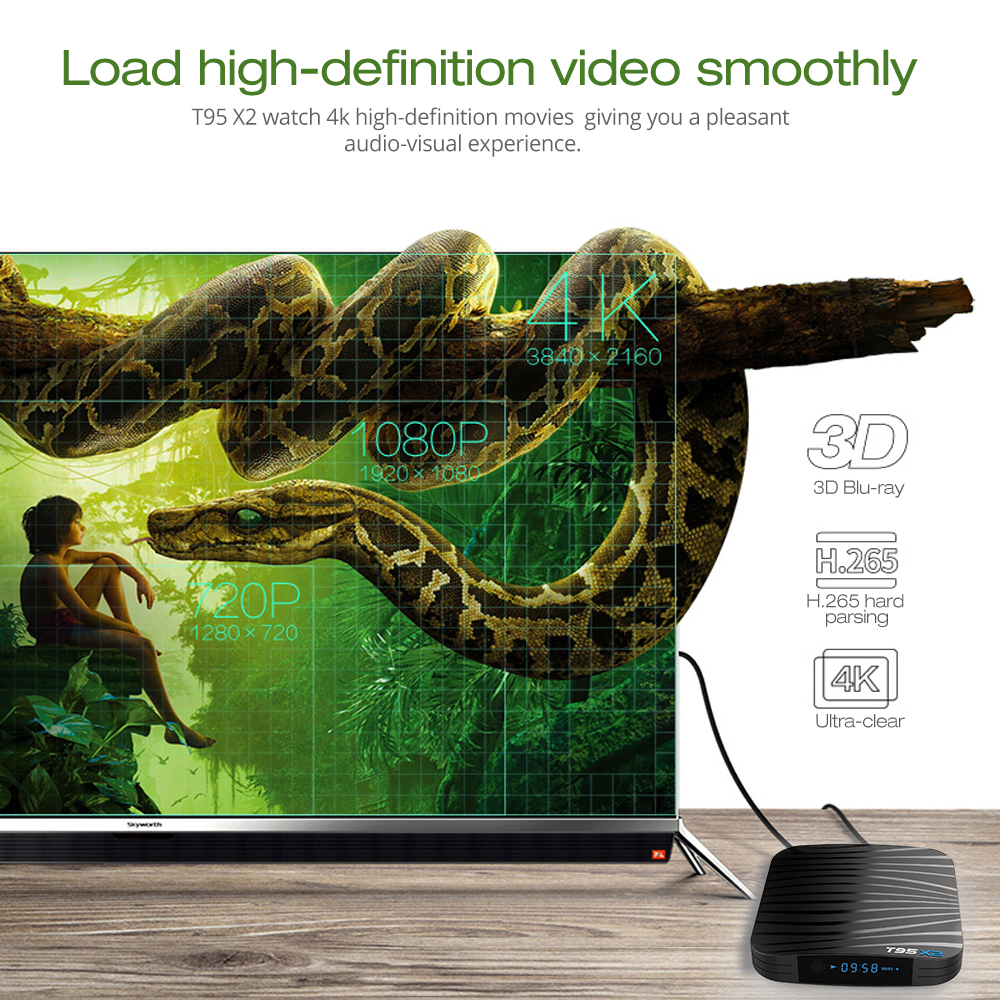 T95X2 Smart TV BOX Android 8 1 4GB 32GB 64GB Amlogic S905X2 Quad Core H 265  4K Youtube Media Player Set top Box T95 X2