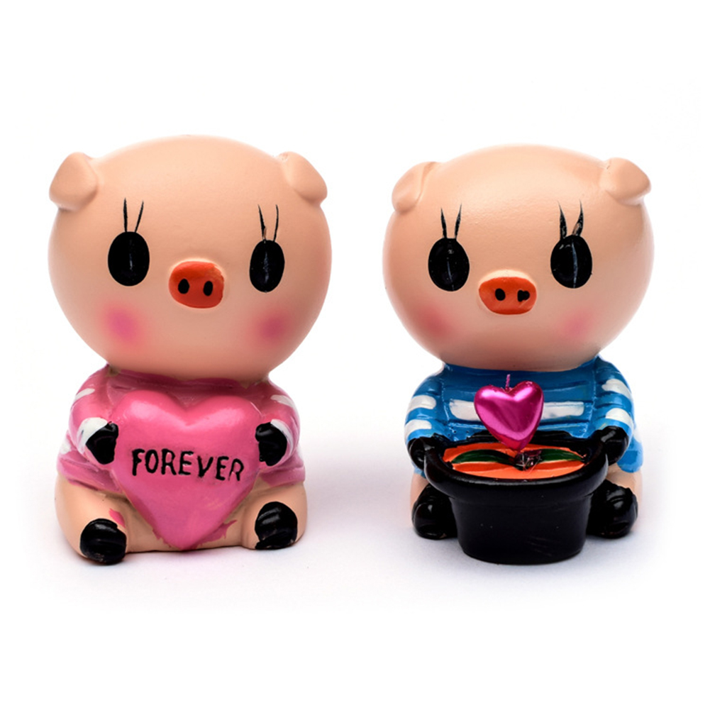 1 Pair Cartoon Love Pig Mom Dad Parents Gift Home Ornaments Toy Car Acc